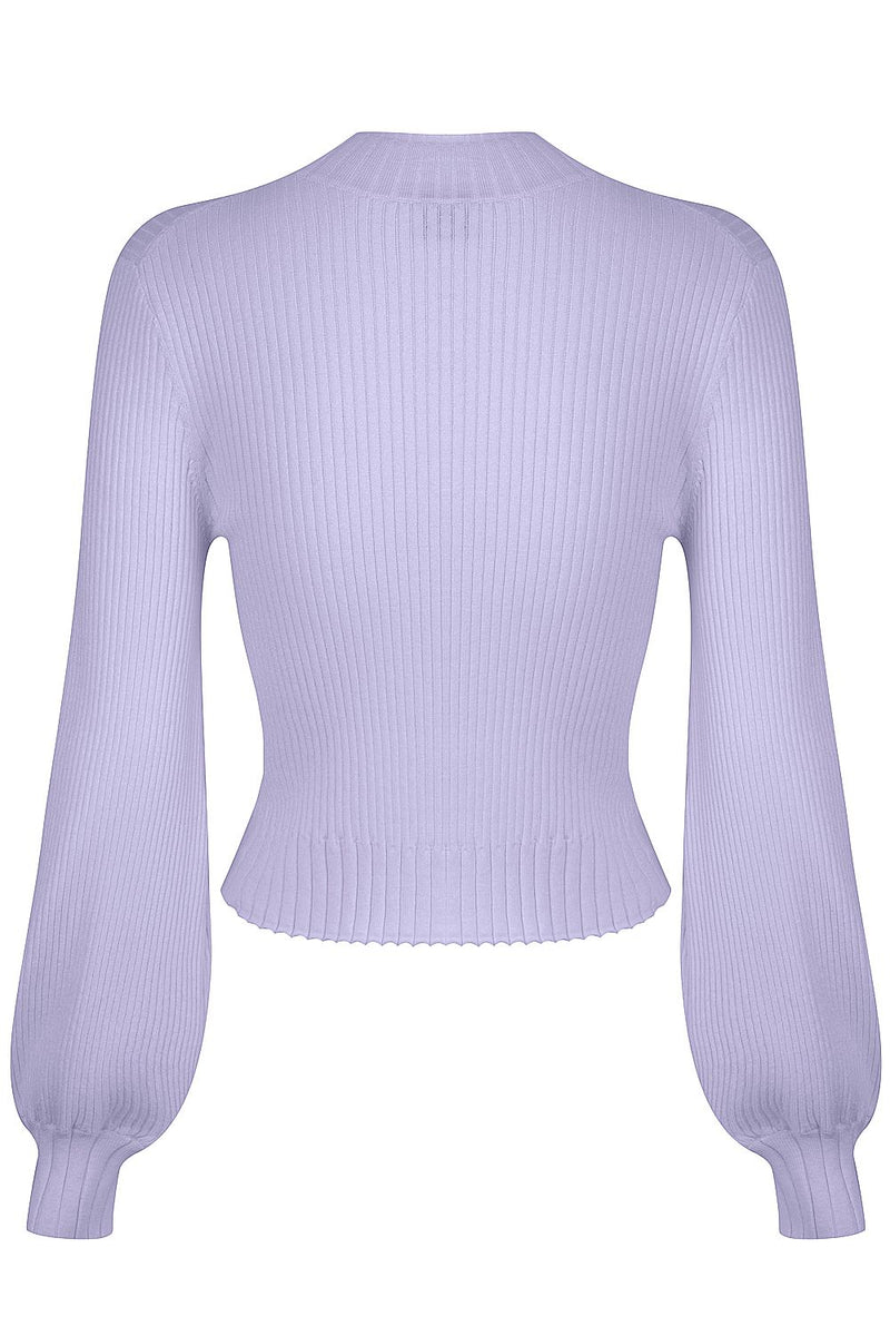 Balloon Sleeve Rib Knit - Candied Violet