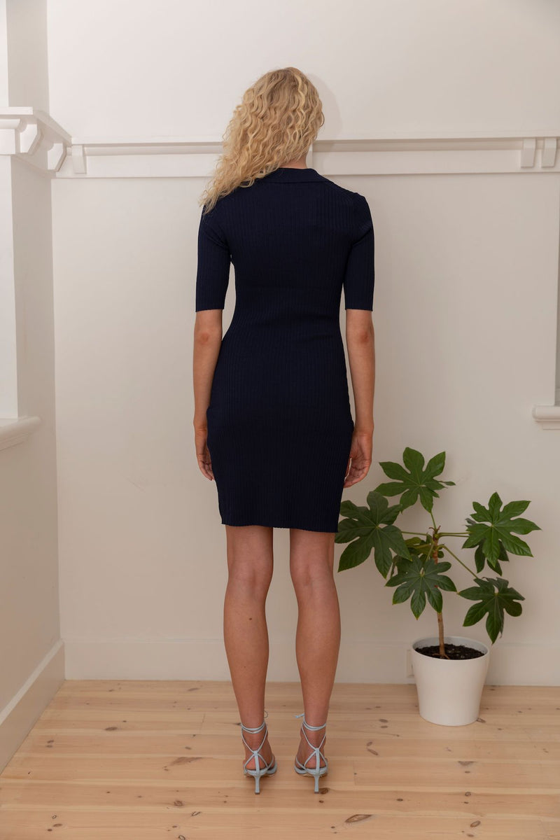Short Sleeve Polo Dress - Navy