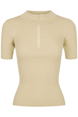 Zip Mock Neck - Bone