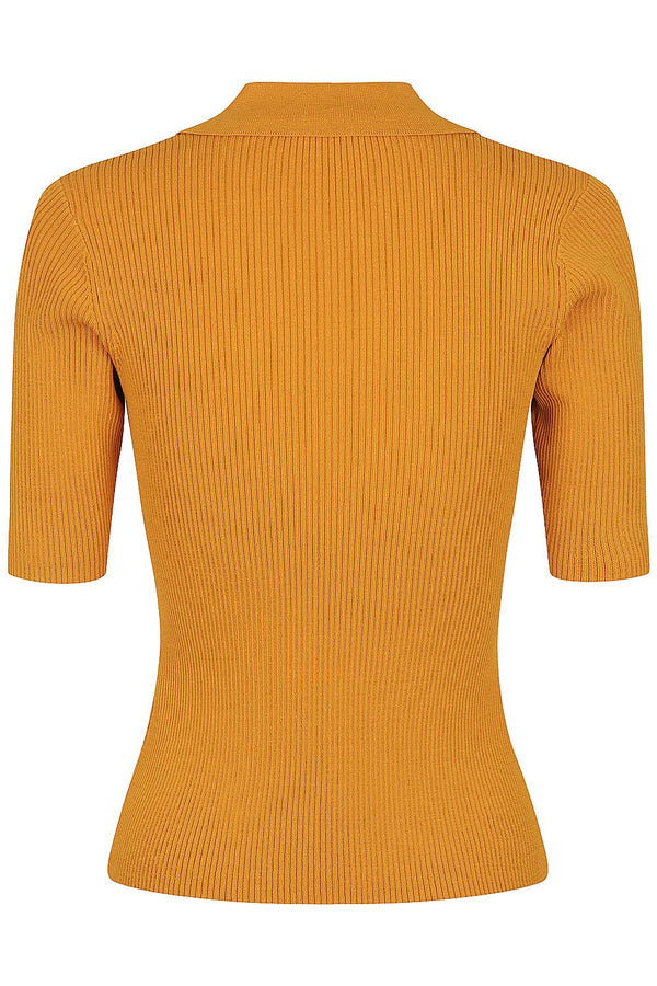 Rib Knit Polo Top - Tobacco