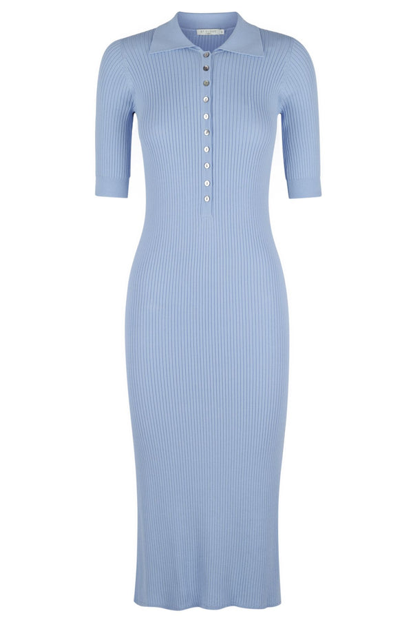 ** PRE-ORDER ** Long Sleeve Polo Knit Dress - Denim Wash