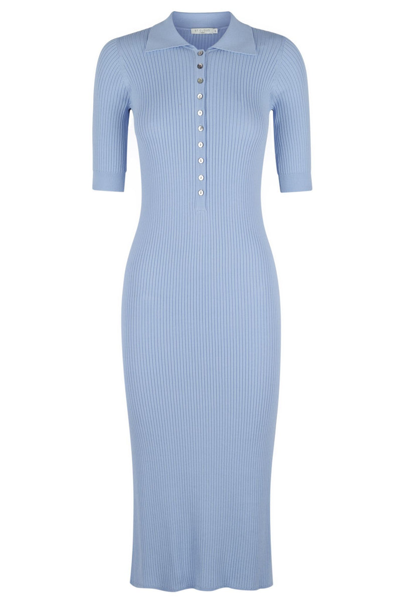 Long Sleeve Polo Knit Dress - Denim Wash