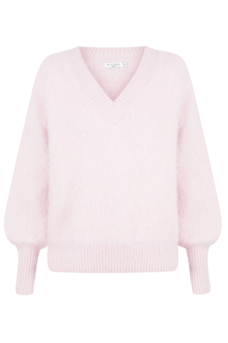 Fluffy V Neck Pullover - Pale Pink Candy