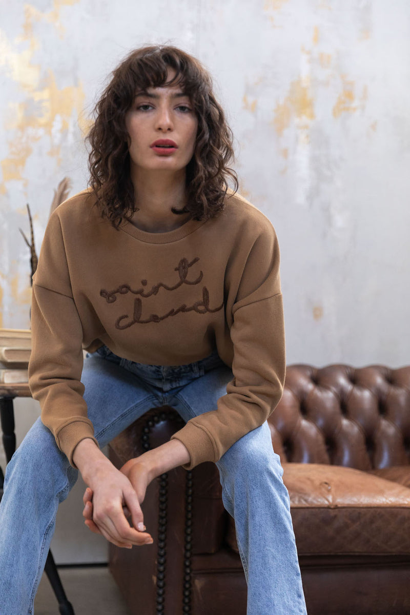 Elbrus Hand Embroidered Sweat - Tan with Brown by  St Cloud Label