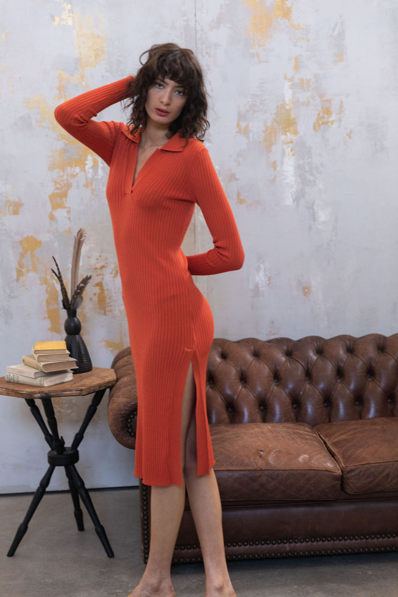 Long Sleeve Polo Dress - Orange by  St Cloud Label