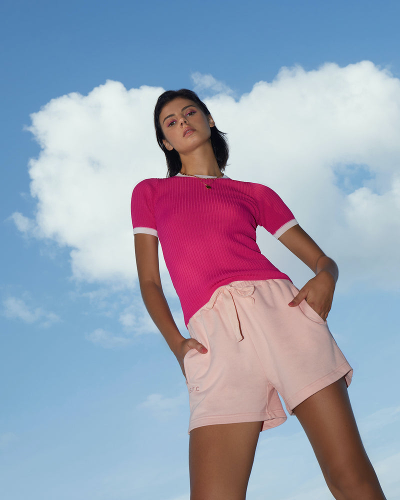 Contrast Trim Tee - Hot Pink with Pale Pink Trim