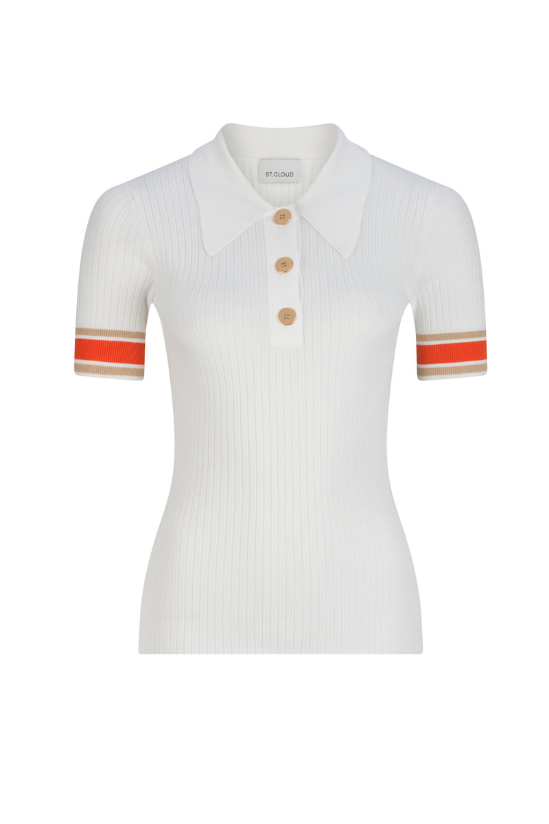 Rhodes Rib Knit Polo - Ivory Campari Stripe by  St Cloud Label