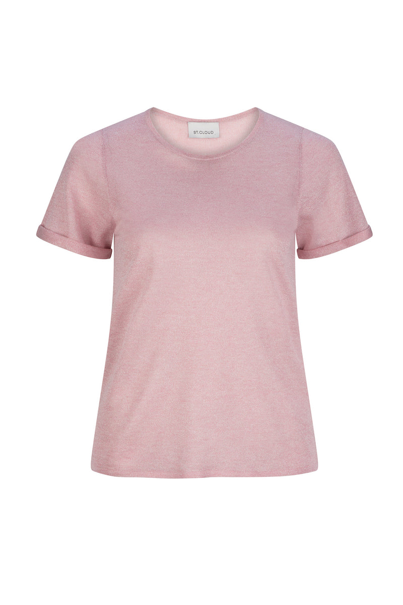Lurex Knit Tee - Dusty Pink by  St Cloud Label