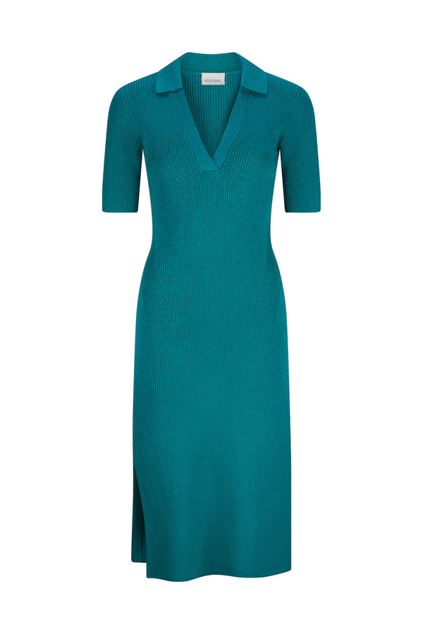 Mallorca Midi Polo Dress - Emerald Lurex by  St Cloud Label