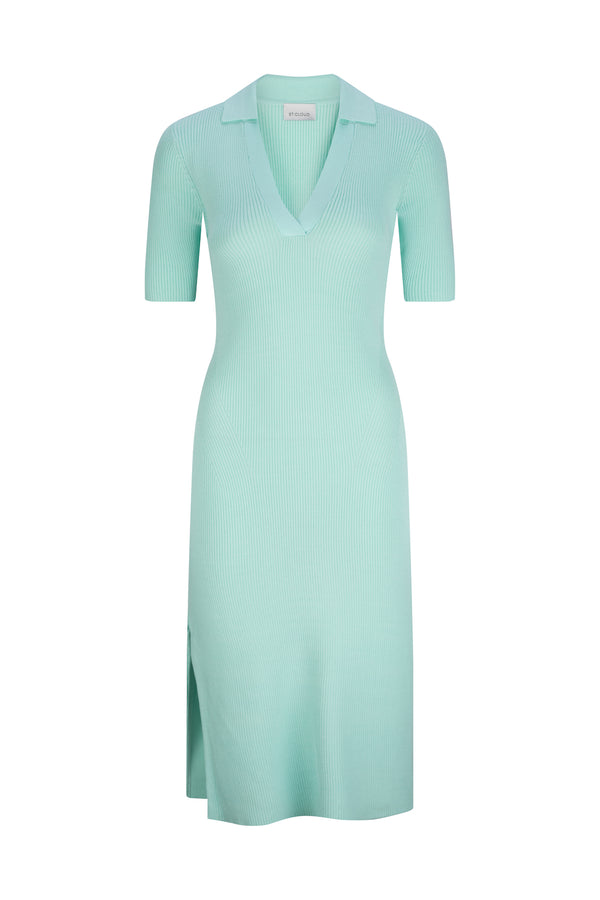 Mallorca Midi Polo Dress - Neon Mint by  St Cloud Label