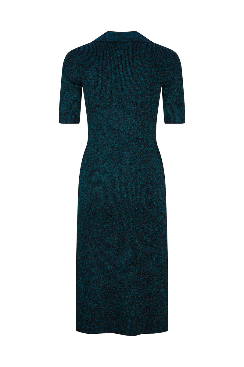 Mallorca Midi Polo Dress - Midnight Black Lurex by  St Cloud Label