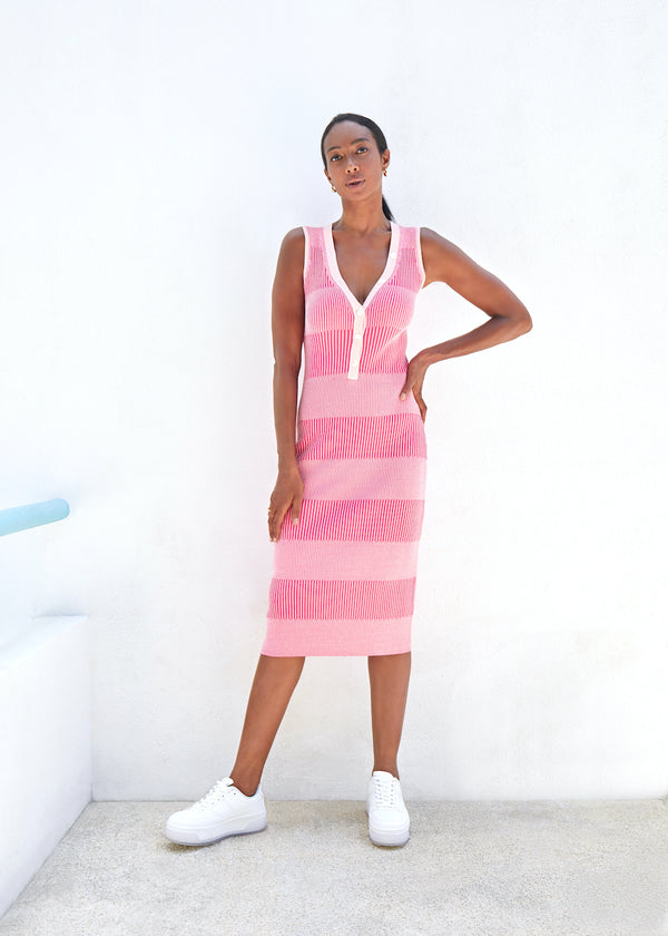 Two Tone Deep V Dress - Hot Pink / Pale Pink