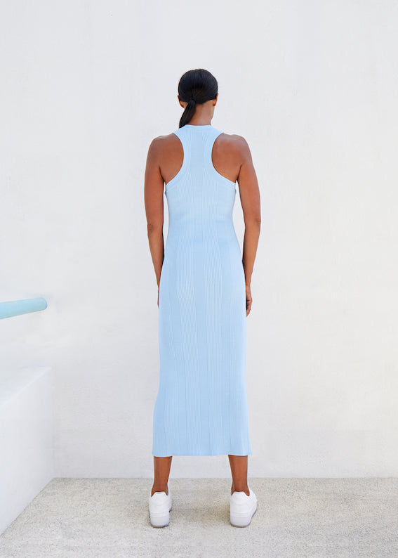 Racer Back Knit Midi Dress - Baby Blue