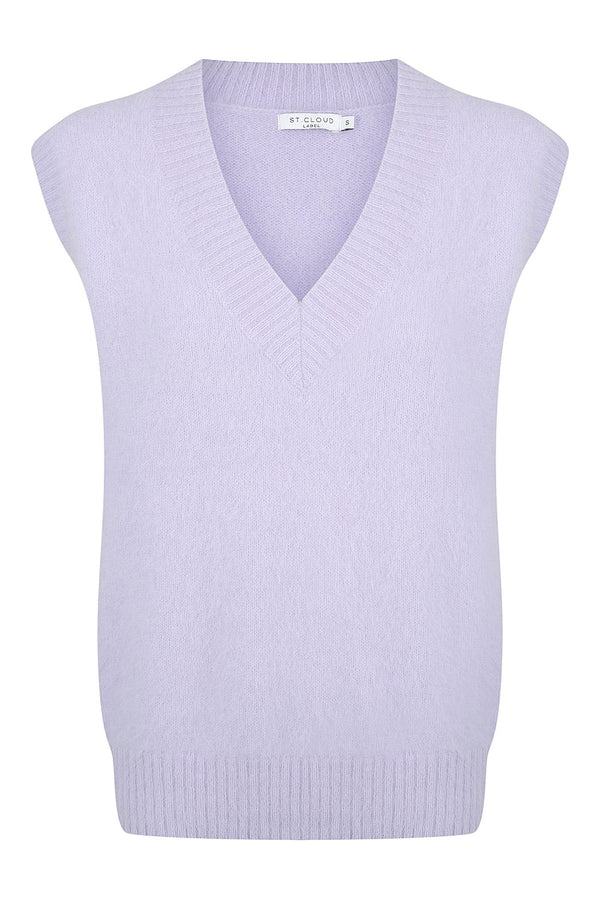 Fluffy Knit Vest - Lavender