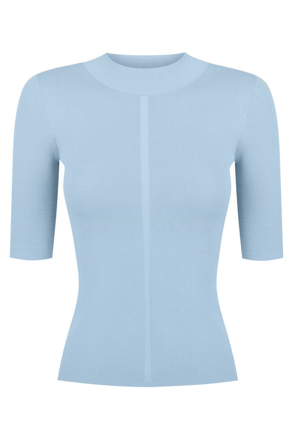 Short Sleeve Mock Neck - Scandi Blue