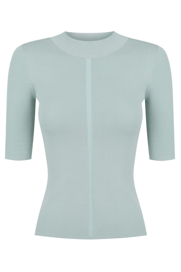 Short Sleeve Mock Neck - Winter Sage