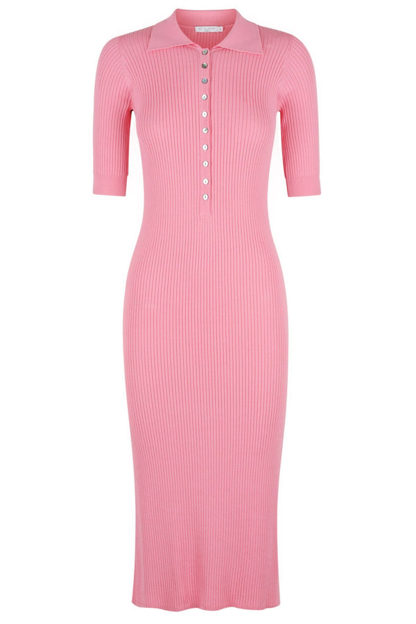 ** PRE-ORDER ** Long Sleeve Polo Knit Dress - Candy Pink