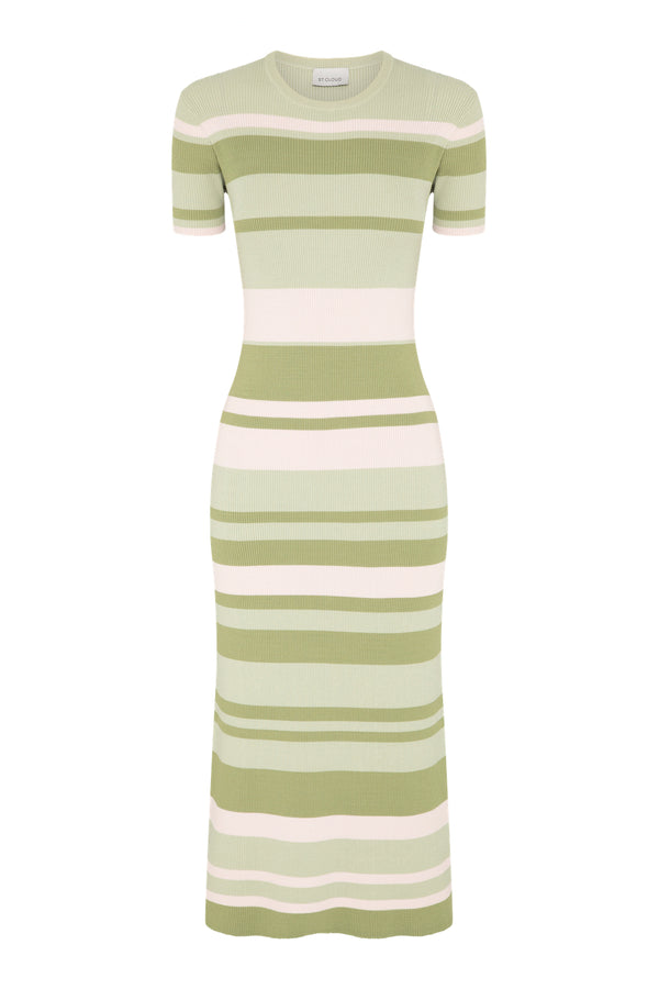Stripe T-Shirt Dress - Sage Stripes