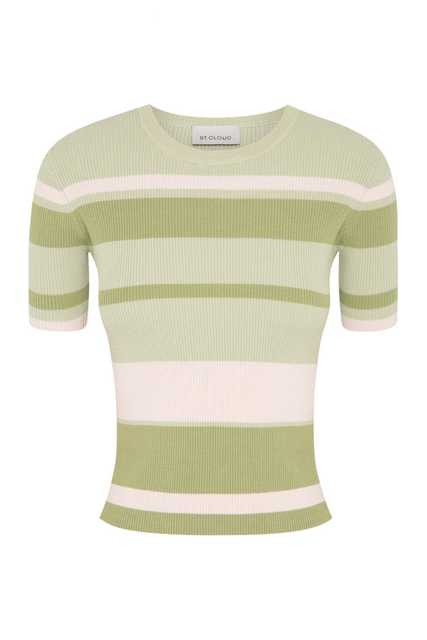 Stripe T-Shirt - Sage Stripes