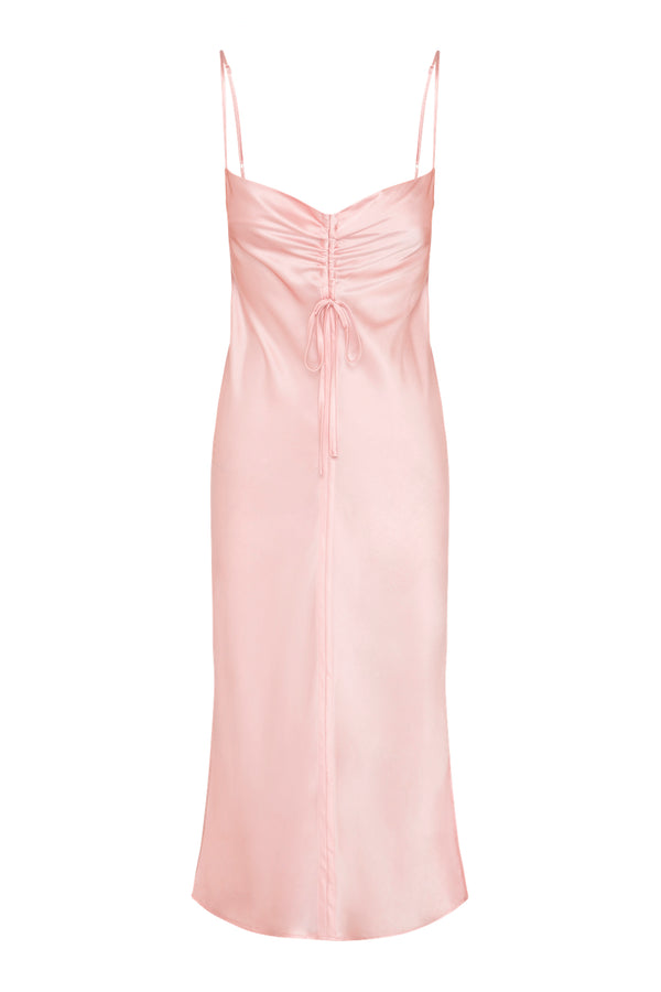 Gather Silk Cami Dress - Powder Pink