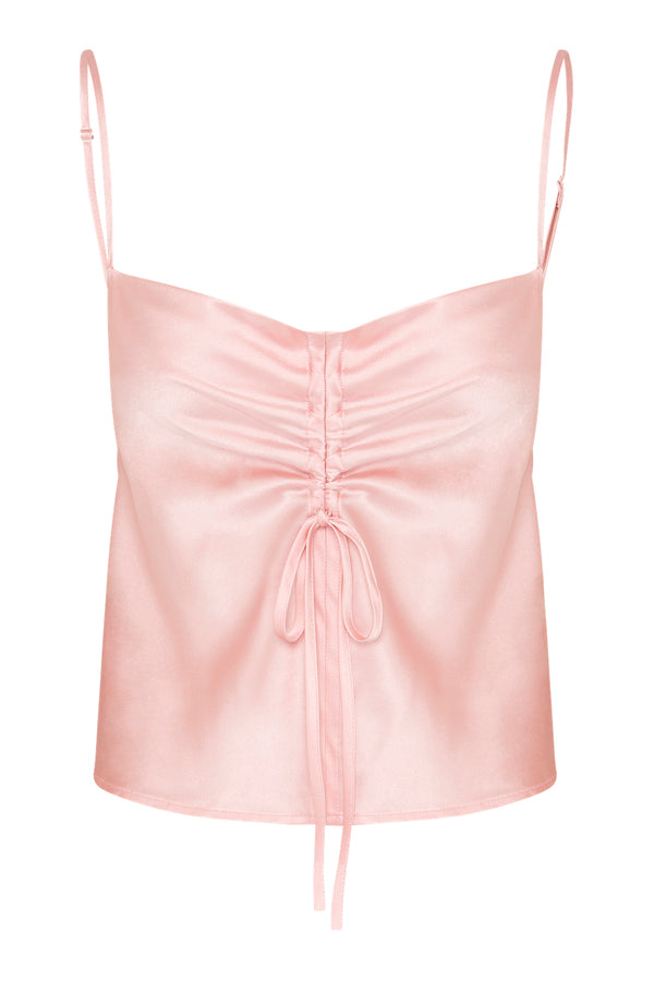 Gather Silk Cami - Powder Pink