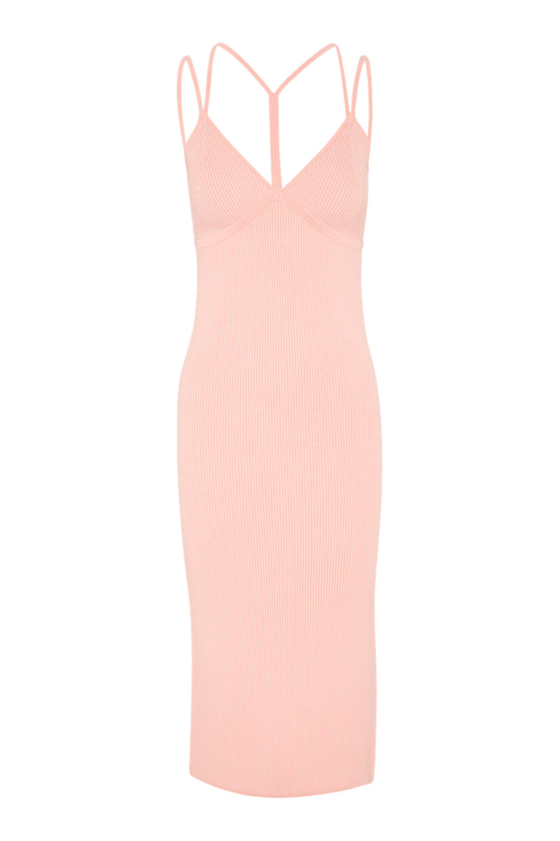 Strap Detail Singlet Dress - Powder Pink