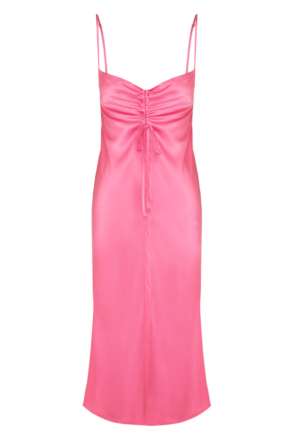 Gather Silk Cami Dress - Hot Pink