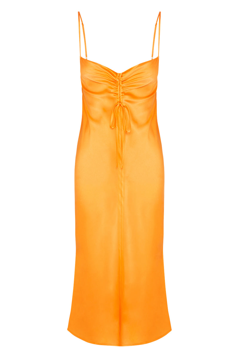 Gather Silk Cami Dress - Tropical Orange