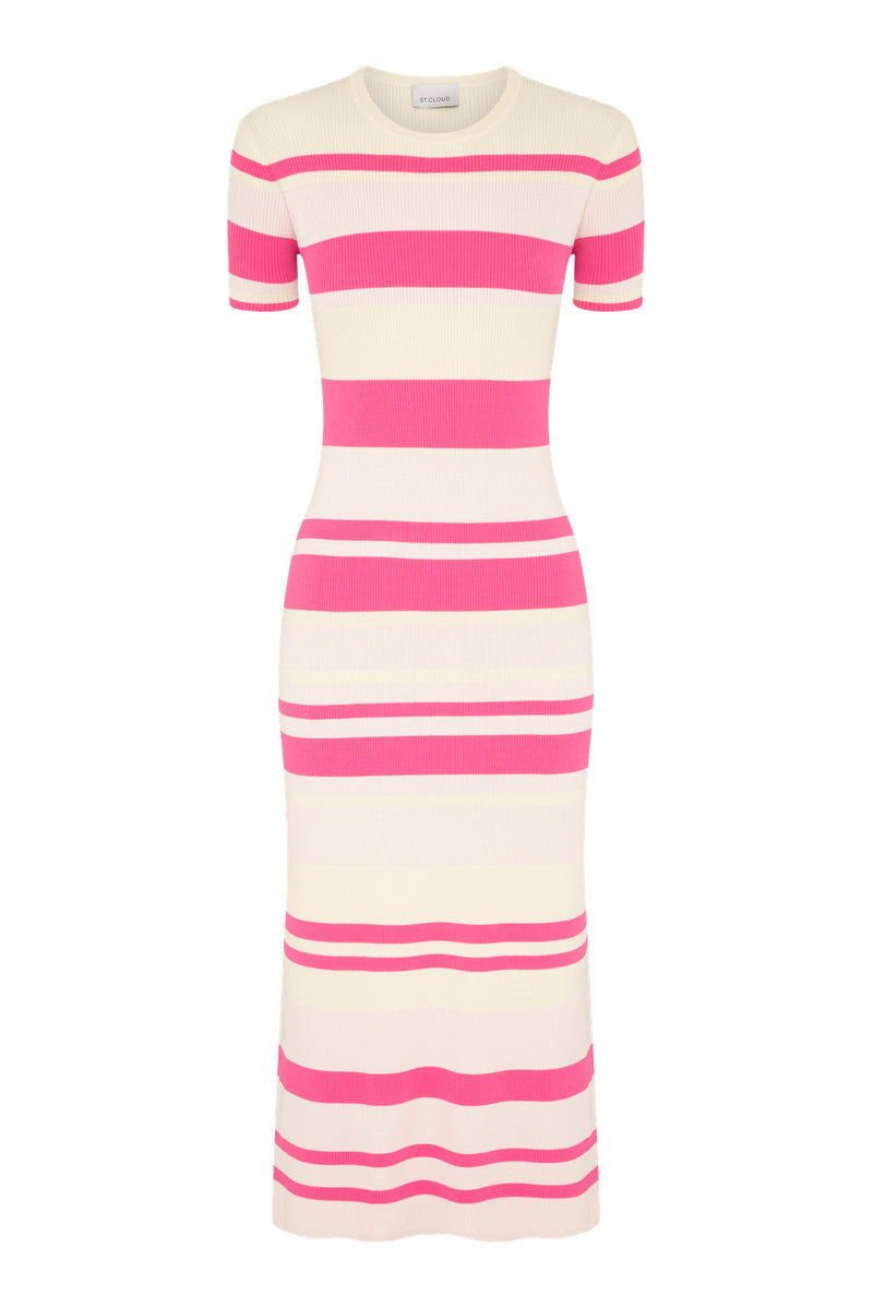 Stripe T-Shirt Dress - Pink Stripes