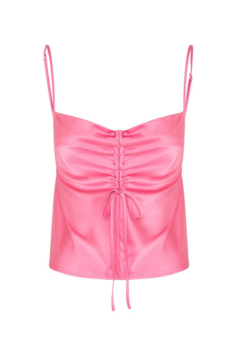 Gather Silk Cami - Hot Pink