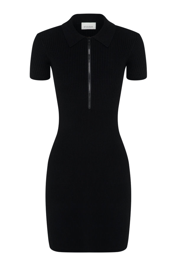 Zip Polo Dress - Black