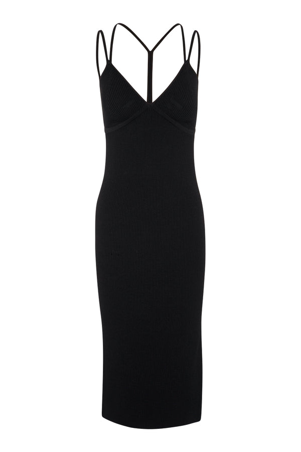 Strap Detail Singlet Dress - Black