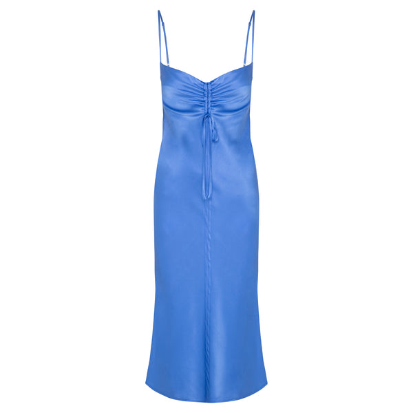 Gather Silk Cami Dress - Ultramarine