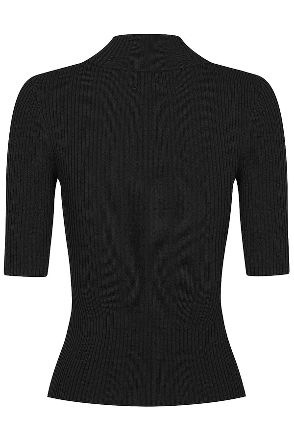 Keystone Rib Knit Tee - Black by  St Cloud Label