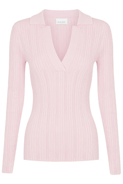 Long Sleeve Pointelle Polo - Pale Pink by  St Cloud Label