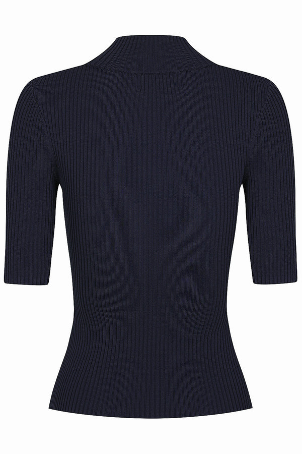 Keystone Rib Knit Tee - Dark Navy by  St Cloud Label