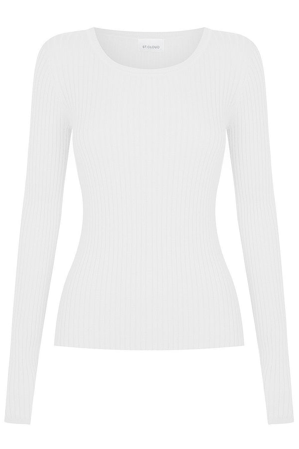 Long Sleeve Rib Crew - White by  St Cloud Label