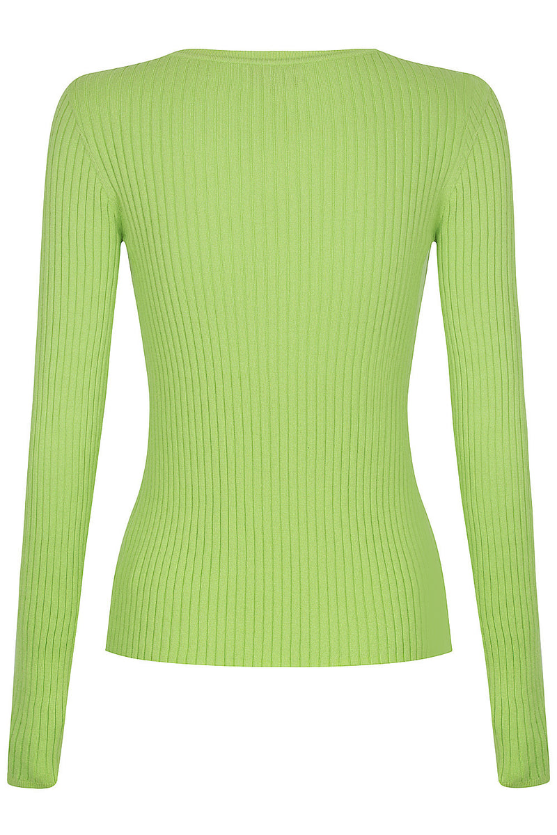 Long Sleeve Rib Crew - Lime Soda by  St Cloud Label