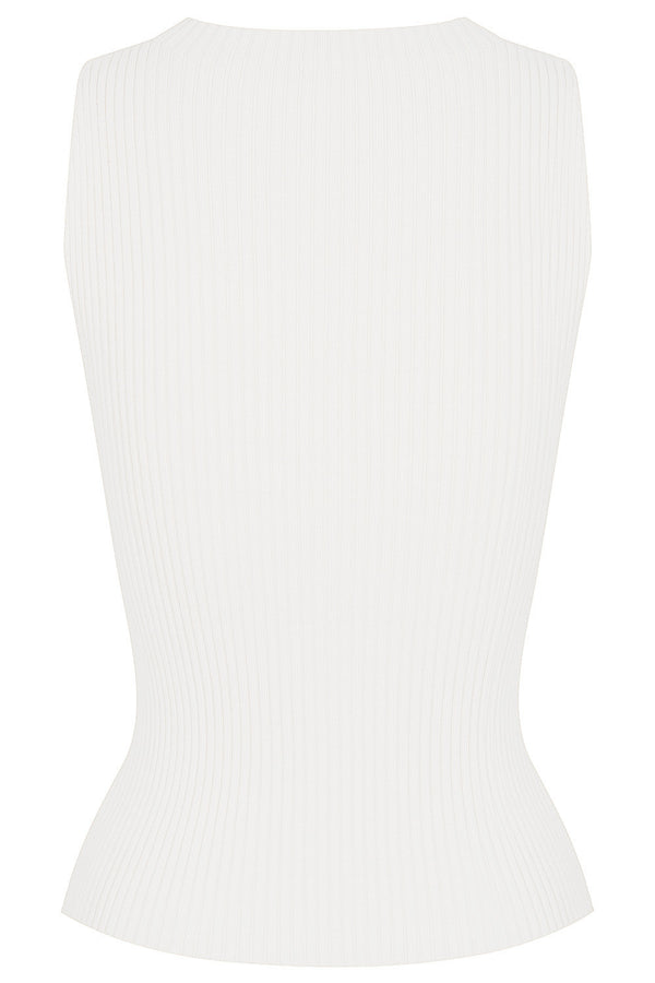 Carrie Rib Knit Tank - White