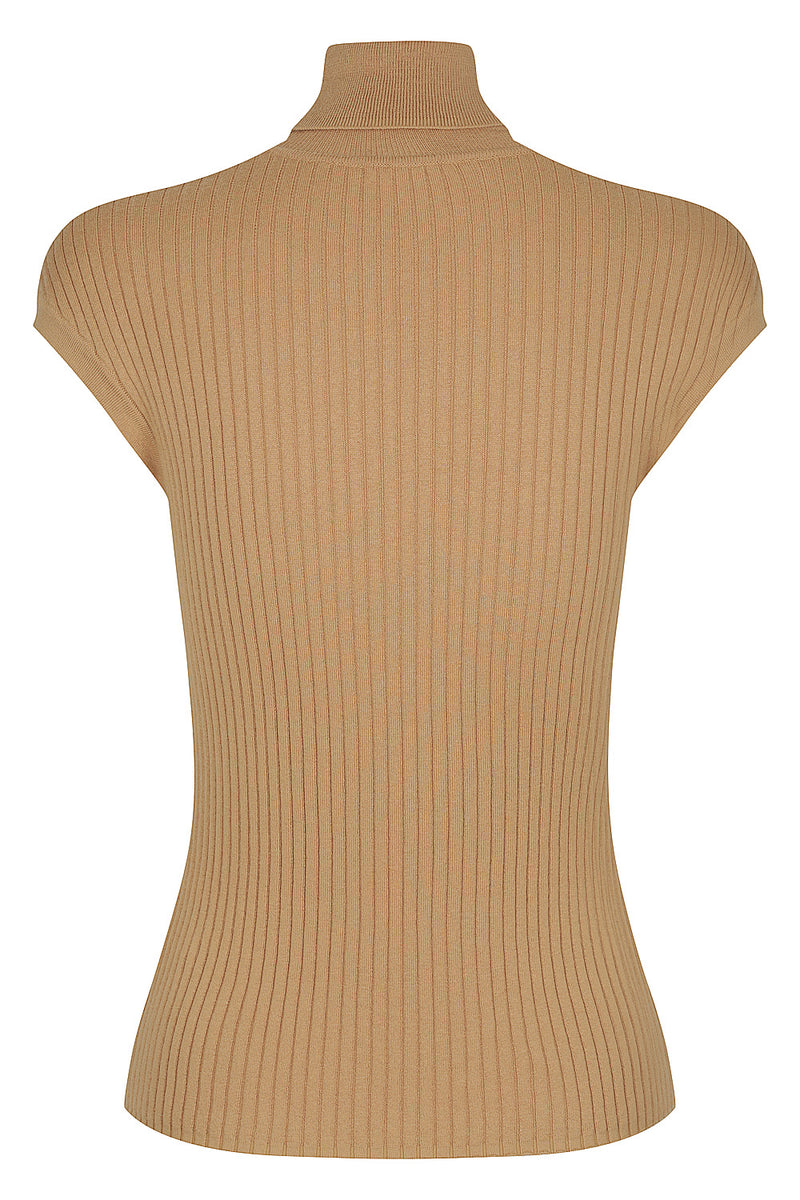 Whitney Turtle Neck Tank - Camel by  St Cloud Label