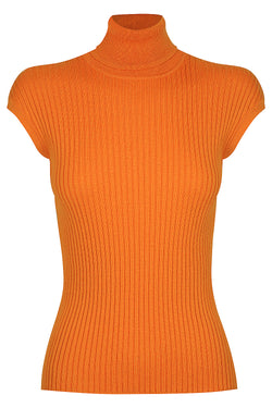 Whitney Turtle Neck Tank - Orange Spark by  St Cloud Label