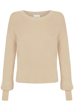 Cropped Cotton Rib Crew - Beige by  St Cloud Label