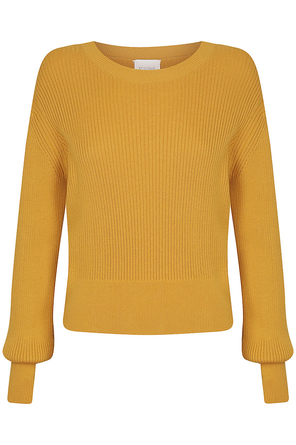 Cropped Cotton Rib Crew - Mustard by  St Cloud Label