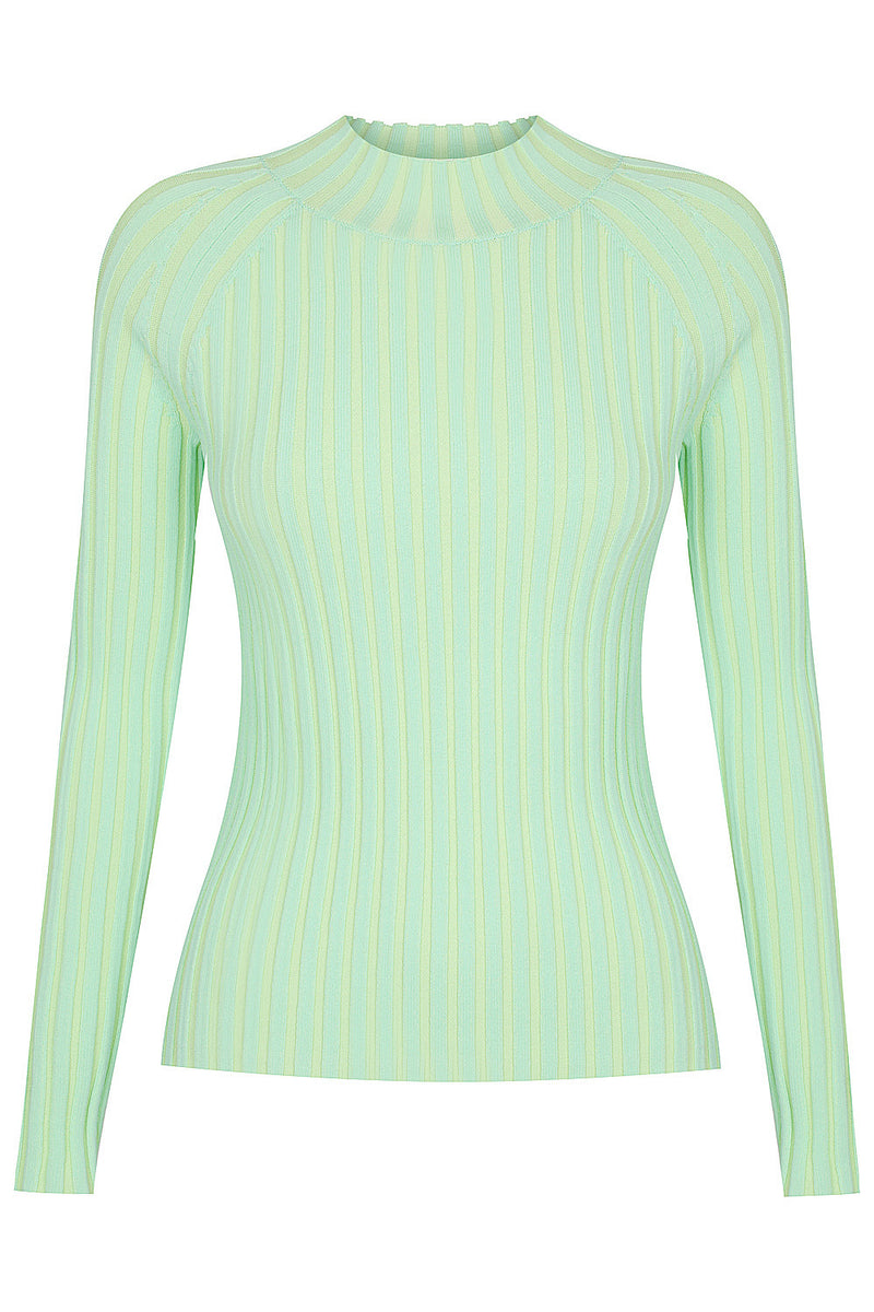 Loveland Two Tone Long Sleeve Knit - Green and Mint by  St Cloud Label