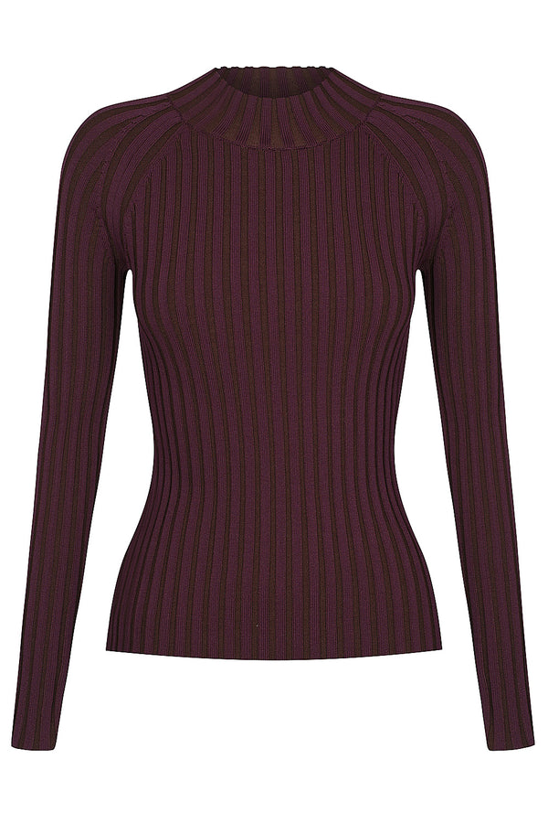 Loveland Two Tone Long Sleeve Knit - Port by  St Cloud Label