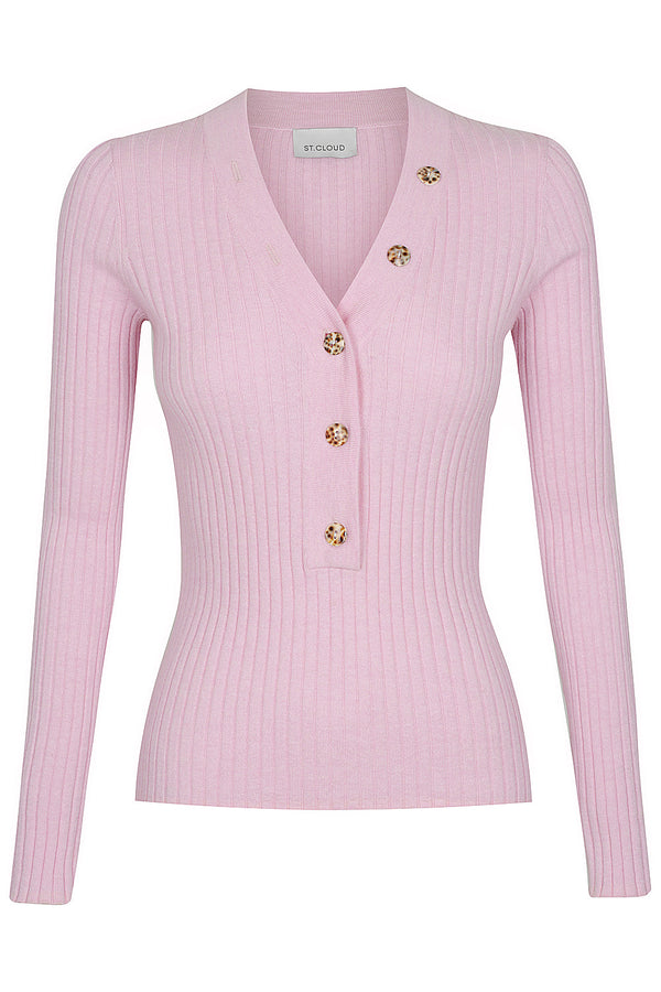 V Neck Button Up Knit - Precious Pink by  St Cloud Label