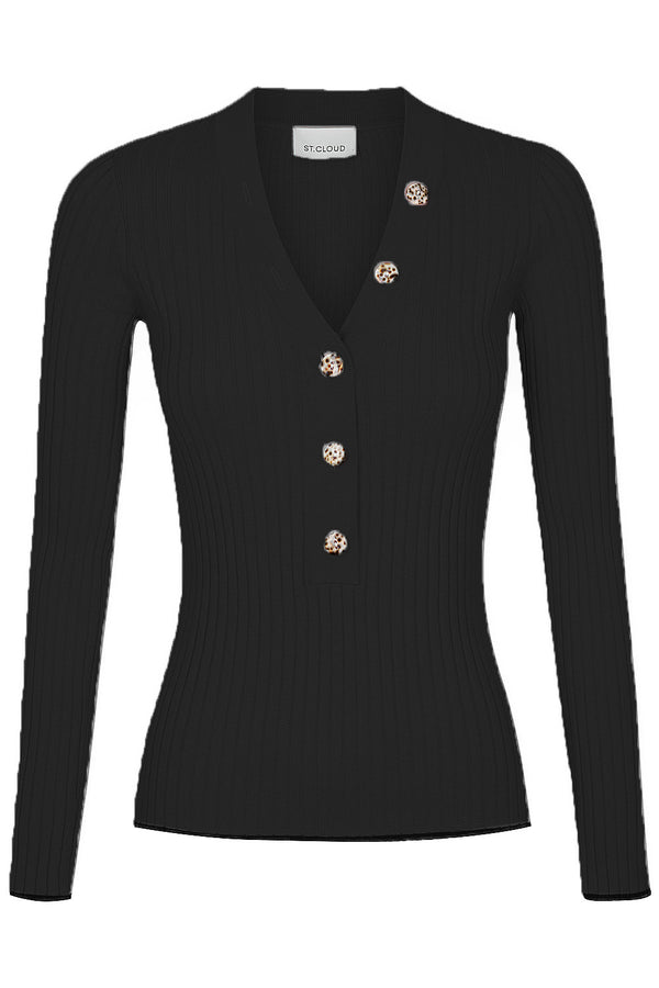 V Neck Button Up Knit - Black by  St Cloud Label