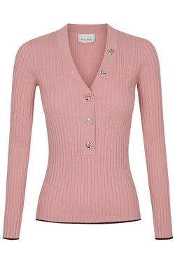V Neck Button Up Knit - Pink by  St Cloud Label