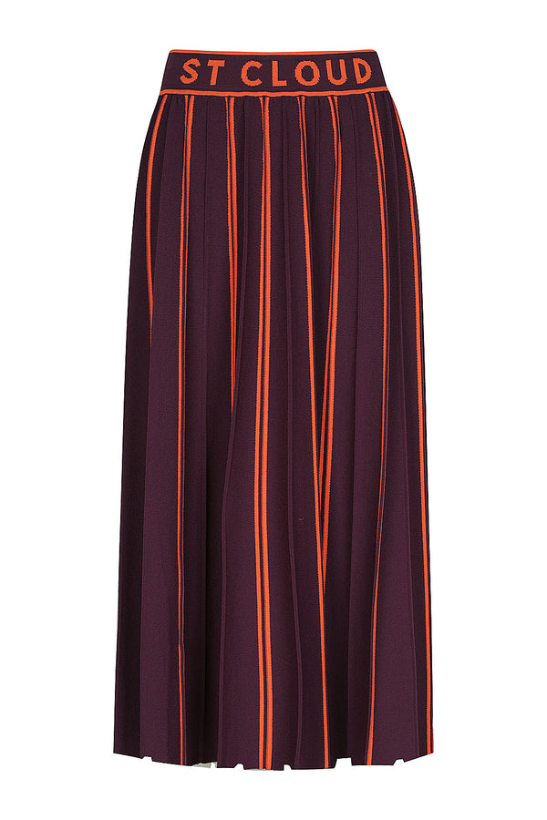 Eldora Pleated Knit Skirt - Port Stripe by  St Cloud Label