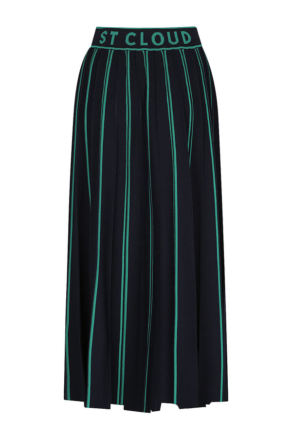 Eldora Pleated Knit Skirt - Dark Navy with Stripe by  St Cloud Label